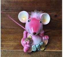 Копилка Мышка розовая с монетками