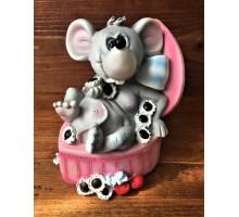 Копилка Мышка в розовой шкатулке