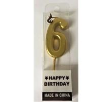 """Свеча для торта""""Цифра 6"""" золотая"""