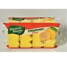 """Губка для посуды """" Мелочи жизни"""" аромат лимона 4 шт"""
