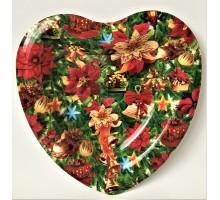 Поднос Сердце Новогодний рождественский цветок