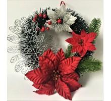 Рождественский венок Рожд.цветок 1 серебрянный лист