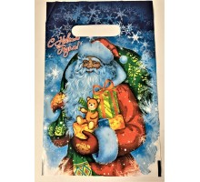 Пакет Новогодний Дед Мороз с подарками 19*29 см прорезь