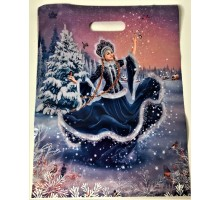 """Пакет Новый год """"Танец снегурочки"""" прорезь 30*39 см"""