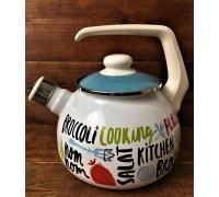Чайник газовый со свистком 2,5 л цветные надписи