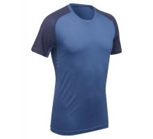 Футболка с коротким рукавом для треккинга - TREK 500 MERINOS синяя мужская FORCLAZ