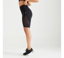 Шорты с высокой талией для фитнеса облегающие черные DOMYOS