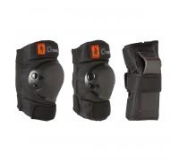 Комплект защиты из 3 эл-тов д/роликов, скейтборда, самоката детский черный BASIC OXELO
