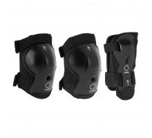 Набор элементов защитной экипировки для катания на роликах детский черный PLAY OXELO