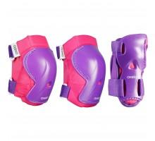 Набор элементов защитной экипировки для катания на роликах детский розовый PLAY OXELO