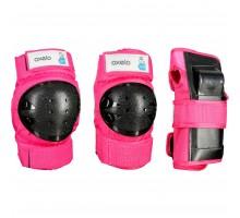Комплект защиты из 3 эл-тов д/роликов, скейтборда, самоката детский розов. BASIC OXELO