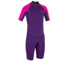 Гидрокостюм для серфинга короткий 100 из неопрена 1,5 мм для детей фиол. розовый OLAIAN