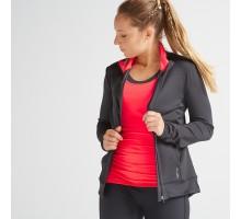 Толстовка для фитнеса и кардиотренировок женская черно-розовая 100 DOMYOS