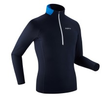 Футболка для беговых лыж утепленная мужская темно-синяя XC S T-S W 100 INOVIK