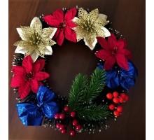 Рождественский венок 5 цветков 2 банта