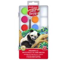 Краски акварельные ErichKrause ArtBerry 12 цветов с УФ защитой яркости с палитрой и кистью