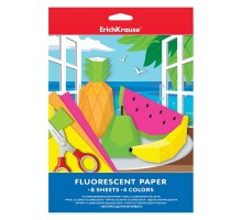 Флуоресцентная бумага ErichKrause А4 8 листов/4 цветов