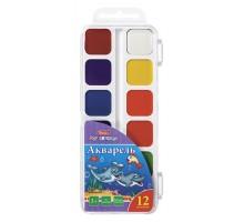 Краски акварельные Hatber Дельфины медовые полусухие 12цветов