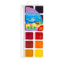 Краски акварельные Hatber Дельфины медовые полусухие 24 цвета