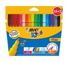 Фломастеры цветные BIC Кидз Виза 16+2цвета