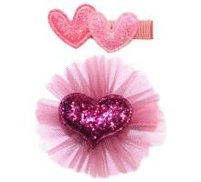 Набор зажимов для волос B&H Сердца+сердце 2шт