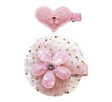 Набор зажимов для волос B&H Сердце+цветочек 2шт