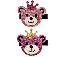 Набор зажимов для волос B&H Мишки в короне 2шт Нежно-розовый-Розовый