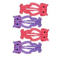 Набор заколок для волос B&H Клик-клак Котики Фиолетовый-Нежно-розовый 4шт