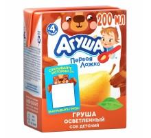 Сок Агуша груша осветленный 0.2л с 4месяцев