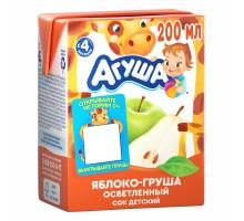 Сок Агуша яблоко-груша осветленный 0.2л с 4месяцев
