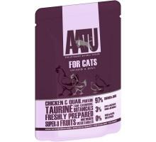 AATU консервы паучи для кошек  с курицей и перепелом, 85 г