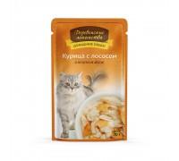 Деревенские лакомства консервы для кошек «Курица с лососем в нежном желе»