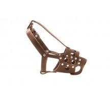 """Yami-Yami кожаный вырубной намордник для добермана, с застёжкой """"ошейником"""" (коричневый)"""