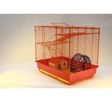 Yami-Yami vip-клетка №2 д/грызунов, 41x30x37 см, 2 этажа, домик, колесо (14 см), миска (6 см)